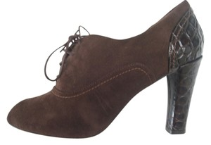 Via Spiga Leather Peep Toe Lace Up Brown Boots