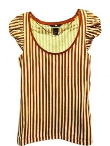 H&M T Shirt Burnt Sienna and White Striped
