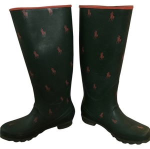 Polo Ralph Lauren Wellies Rubber Rain Green Boots