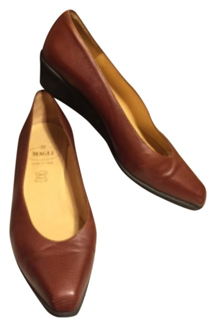 """Item - Brown/Tan/Black Textured Italian Leather 2"""" Style: W0240 Wedges Size US 8.5 Wide (C, D)"""
