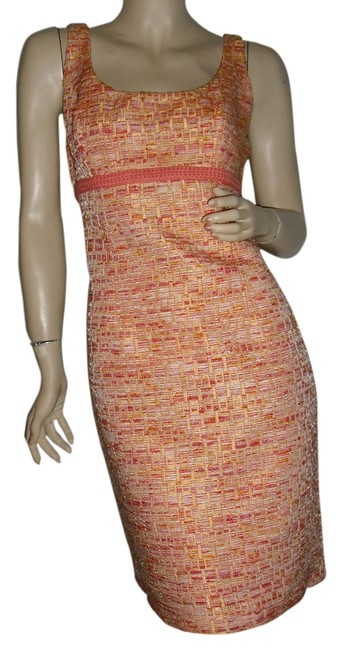 Item - Orange Tweed 50s Retrostyle Fashionista Style Boutique Knee Length Cocktail Dress Size 6 (S)