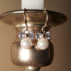 Gold Plated Bow Pearl Drop Bridal Earrings