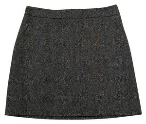 French Connection Wool Houndstooth Mini Skirt Black White