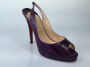 Christian Louboutin Eel Skin Slingbacks Heels Purple Pumps