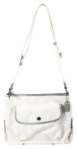Coach Signature Silver Leather Canvas Shoulder Bag