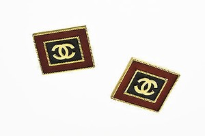 Chanel Vintage Chanel Gold Tone Red Black Leather Cc Square Clip On Earrings