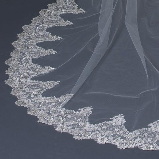 Elegance By Carbonneau Ivory Cathedral Veil With Beaded Silver Floral Embroidery