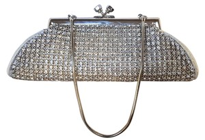 La Regale Wedding Bridal Evening Silver, metallic, light blue Clutch