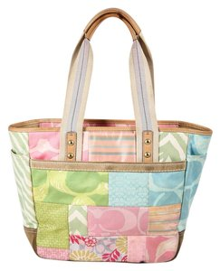 Coach Patchwork Pastel Suede Leather Tote in Multicolor