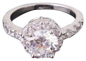 Round Setting Cz & White Sapphire Sterling Silver Ring All Sizes Avail