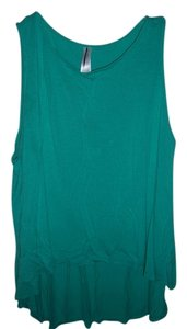 Forever 21 Sleeveless High Low Hi Low Top green