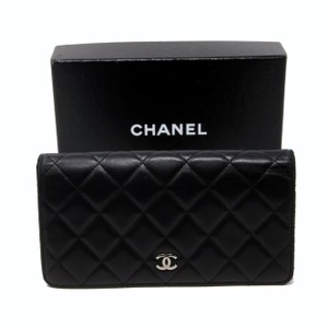 Chanel CHANEL 2.55 Noir Black Quilted Lambskin Leather CC Chrome Long Wallet
