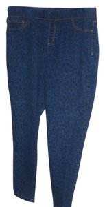 Faded Glory Jean Animal Stretchy Fitted blue denim leopard print Leggings