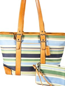 Coach Stripe Leather Beige Silvertone Hardware Tote in Multicolor