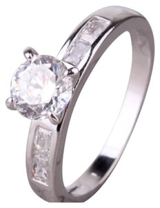 Beautiful White Sapphire & 18K White Gold Filled Ring 6, 8