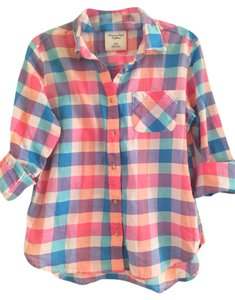 American Eagle Outfitters Spring Flannel Button Down Shirt Multi