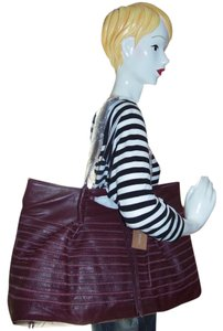 Carol Brodie: Accessorize Your Life Leather Extra Large Tote in Burgundy