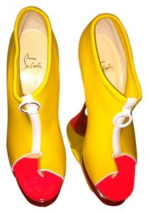 Christian Louboutin Yellow/Neon Pink/White Pumps