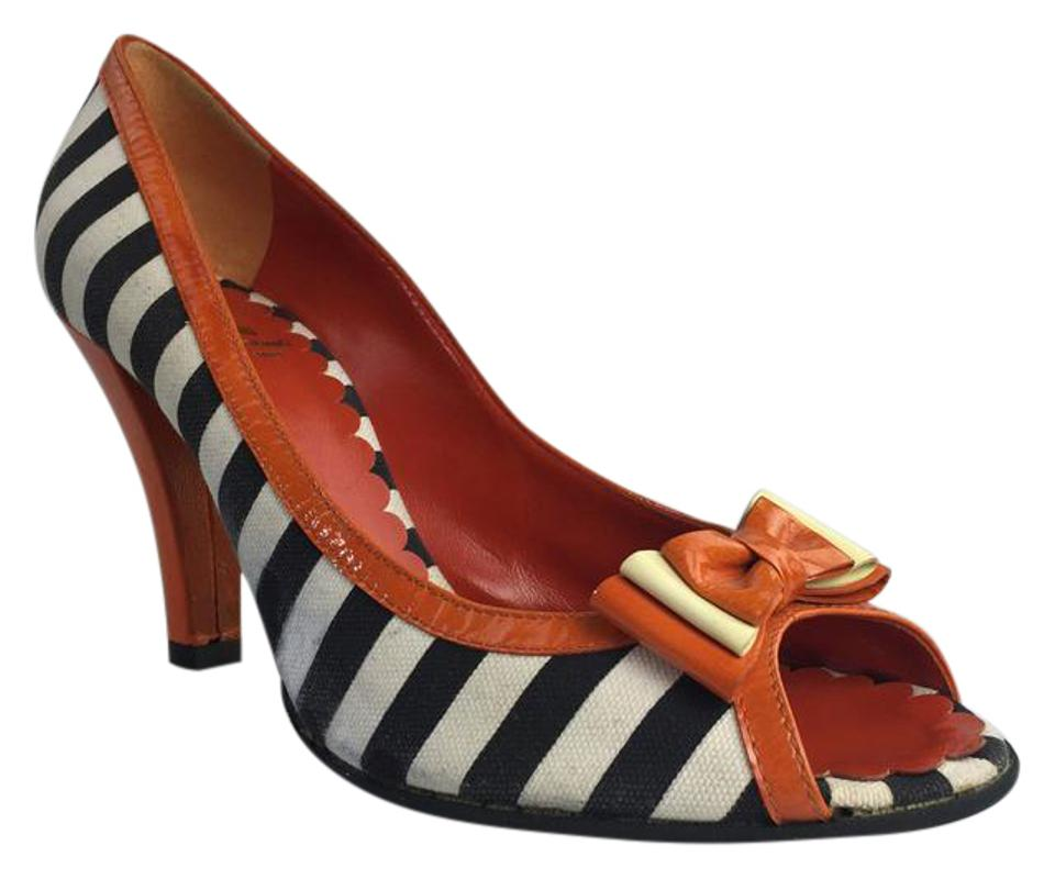 Women's Orange Moschino Orange Women's Striped Pumps to buy 7a38f0