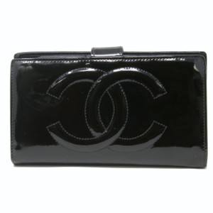 Chanel CHANEL Signature Coco Black Patent Leather Big CC Long Wallet Gold