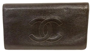 Chanel CHANEL Signature Caviar Leather Card Wallet With Big CC Logo