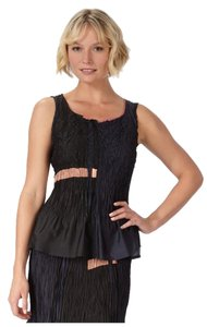 Babette Jacquard Crinkled Peplum Tank Top Black Multicolor