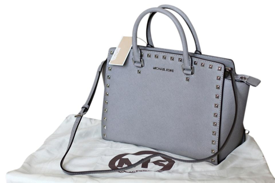dff4f33b30b6 MICHAEL Michael Kors Saffiano Leather Studded Classy Roomy Sturdy Silver  Hardware Satchel in Pearl Grey Image ...