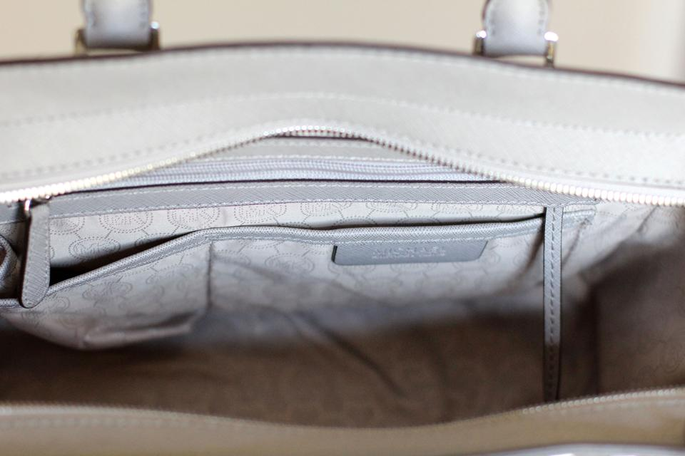 9979f68dbf3e MICHAEL Michael Kors Saffiano Leather Studded Classy Roomy Sturdy Silver  Hardware Satchel in Pearl Grey Image. 1234