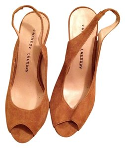 Chinese Laundry Open Open Toe Beige nude tan Mules