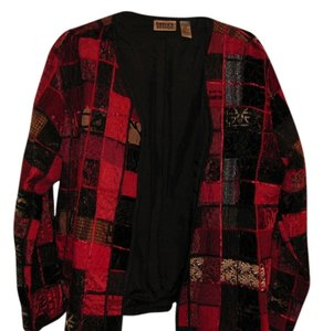 Chico's Shine Night Holiday VELVET RED AND BLACK AND GOLD Jacket