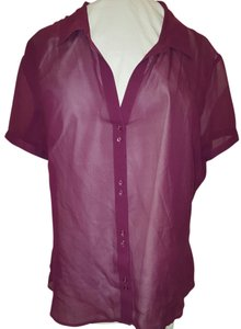 Old Navy Silk Sheer Top Maroon Red