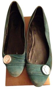 Gucci Buckle Teal green Flats