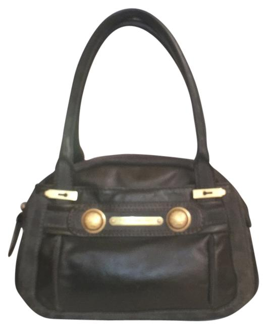 Item - Leather Green Gold Suede Satchel