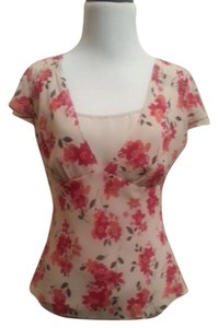 Ann Taylor LOFT Feminine Flattering No Sign Of Wear Top cream, pink, red, brown