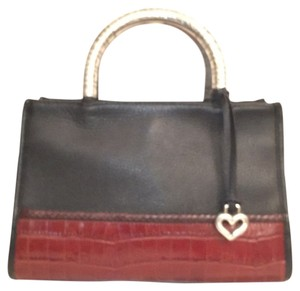 Brighton Leather Embossed Leather Tote in Black Brown