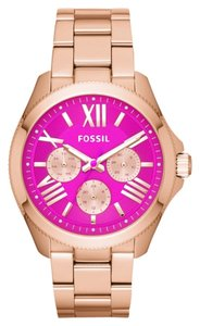 Fossil BNWT Fossil AM4549 Cecile Orchid Pink Analog Date Dial Rose Gold Band Women Watch