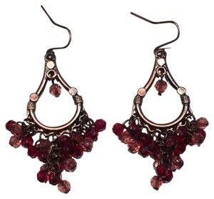 Other Red Faceted Beads, Coppertone Chandelier Earrings