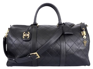 b0488be28d07 Chanel Duffle Flat Quilt Boston Vintage Black Lambskin Weekend ...