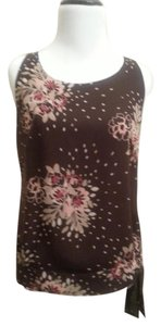Ann Taylor LOFT Floral Comfortable The Well Made Top Brown floral