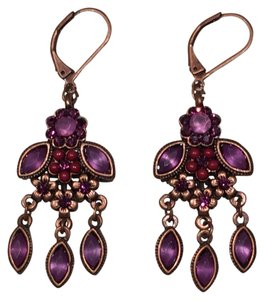 Purple, Coppertone Flower Chandelier Earrings
