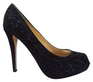 Badgley Mischka Glitter Black Pumps