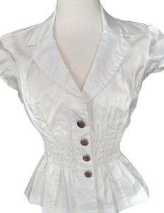 B. Moss Shirred Fitted Waist Notched Collar Capped Sleeve Nylon/Cotton/Viscose Silver Tone Buttons Top White