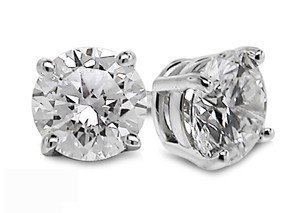 1.00ct. Genuine Natural Round Diamond Earrings 14k White Gold Prong Setting On Sale
