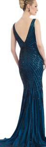 Morrell Maxie Size 10 Navy Evening Mother Of Bride Dress