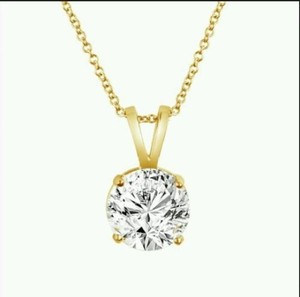 0.30ct. Genuine Diamond Solitaire Necklace 14k Y/ Gold Rope Chain