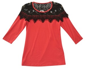 Daytrip Lace Stretch Knit Coral Top Coral, Black
