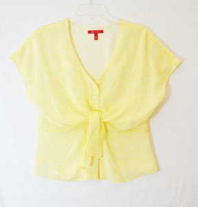Anne Klein Ann Silk Print Top Pale Yellow