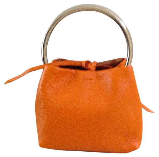 Laurent Effel Baguette Silver Leather Like New Tote in Orange