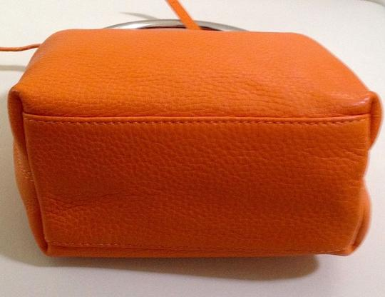 Laurent Effel Silver Leather Like New Tote in Orange