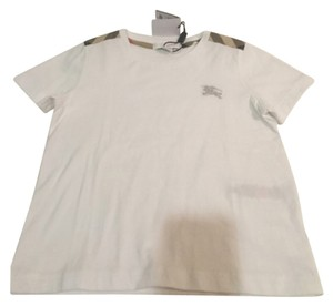 Burberry T Shirt White with Burberry Check Print